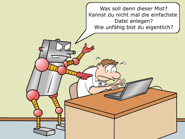 Digitaler Analphabet Cartoon 1