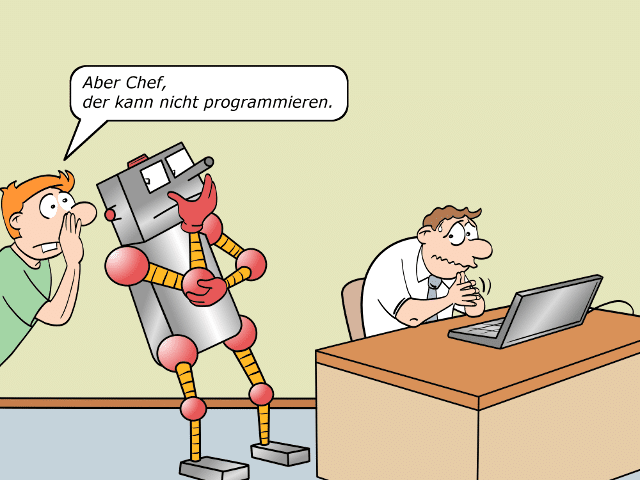 Digitaler Analphabet Cartoon 2