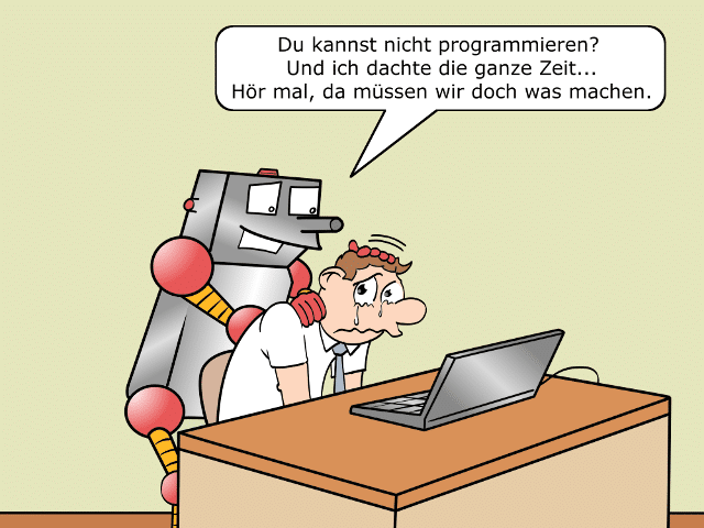 Digitaler Analphabet Cartoon 3