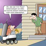 Lieferroboter von Just Eat fährt bringt das Cartoon