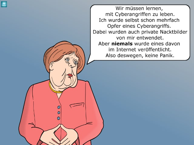 Angela Merkel über Hackerbedrohung Cartoon IT-Sicherheit