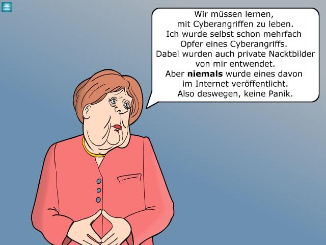 Angela Merkel über Hackerbedrohung Cartoon IT-Sicherheit