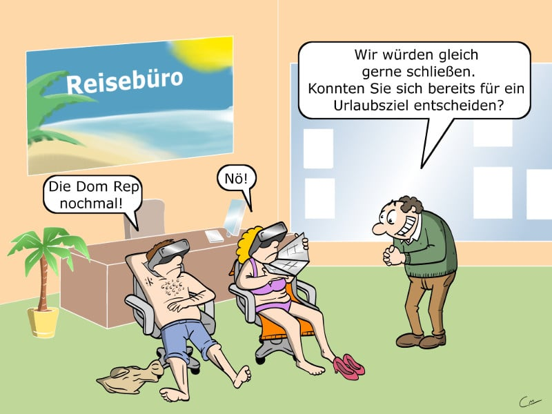 Reisebüro Virtual Reality VR Cartoon