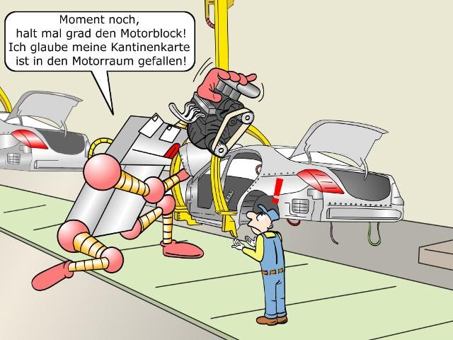Cobots Fließbandfertigung Roboter Comic Bild 2