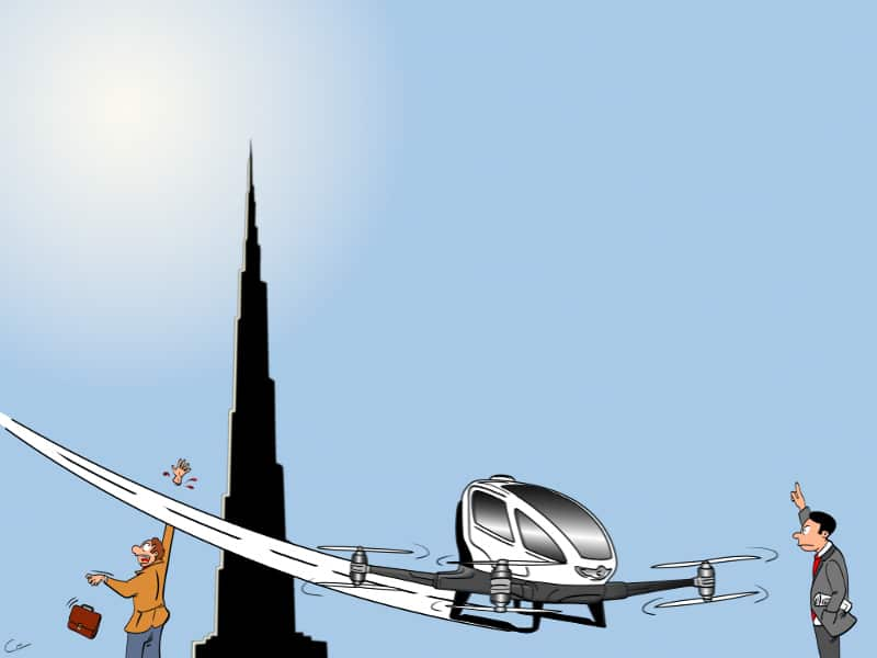 Drohnen Taxi Dubai Cartoon
