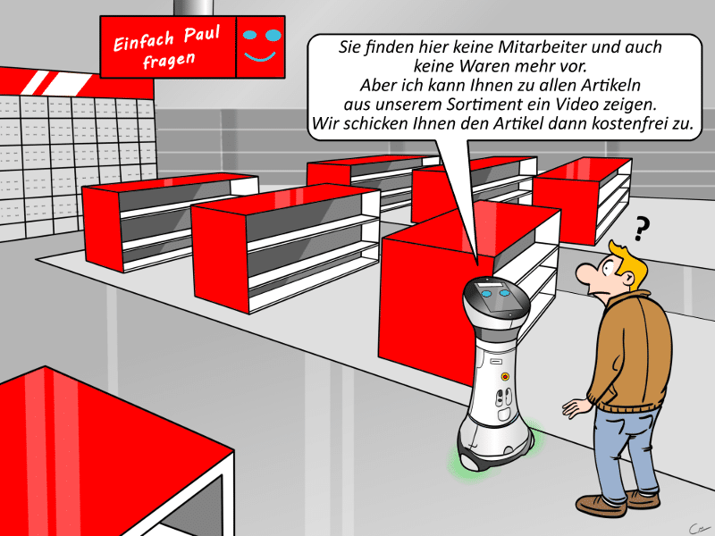 Media Markt Verkaufsroboter Paul Cartoon