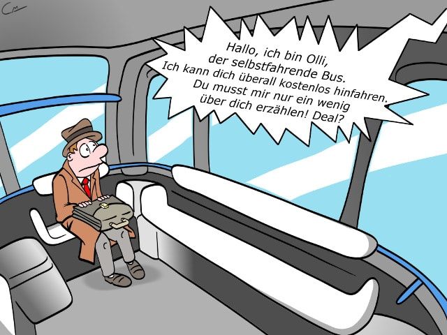 Olli Bus IBM Watson Cartoon