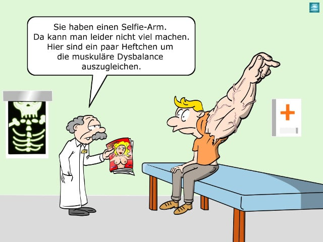 selfie-arm cartoon Orthopäde