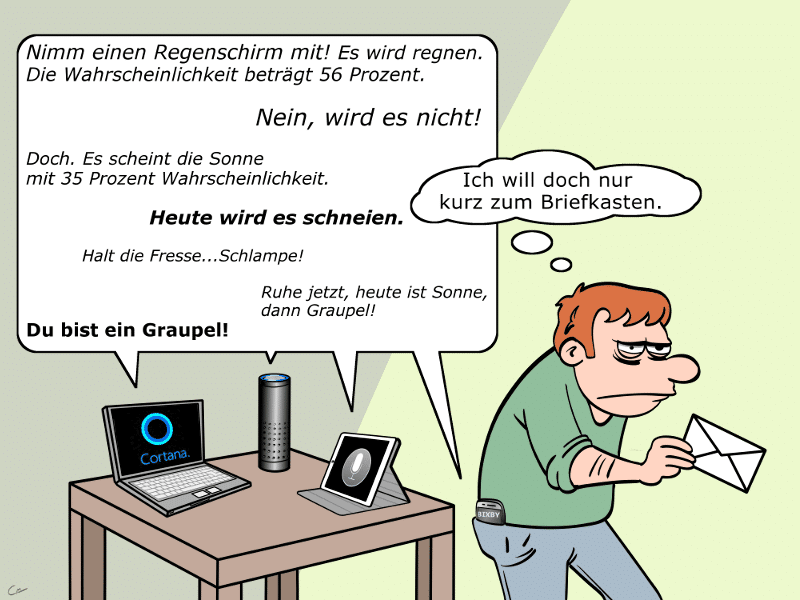 Sprachassistenten Siri, Cortana, Amazon Alexa, Bixby