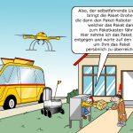 Supply Chain Technologien Cartoon Paketzustellung