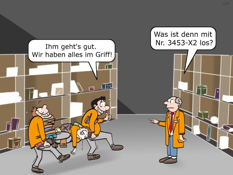 Amazon Kommissionieren Prämienmodell Arbeitsbedingungen Cartoon
