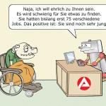 Arbeitsmarkt Arbeitsamt Zukunft Cartoon