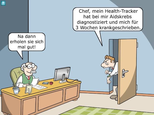 Health-Tracker Wearable Diagnose Arztbesuch Krankschreibung Cartoon