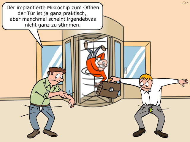 Mikrochip Implantat Türöffnen Cartoon