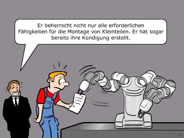 Roboter Kündigung YuMi Hannover Messe Automatisierung Cartoon