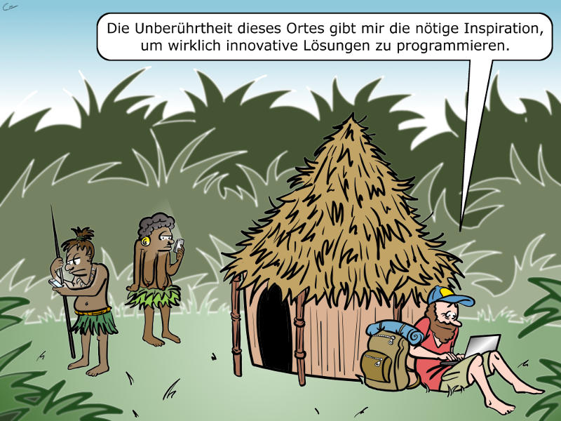 Digitale Nomaden Cartoon
