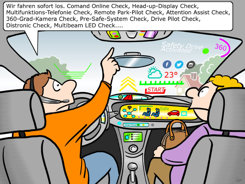 Digitalisierung des Autos Cartoon