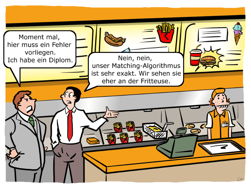 Matching-Algorithmen in der Praxis Cartoon