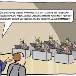 Chatbots Banken Bankangestellte Cartoon