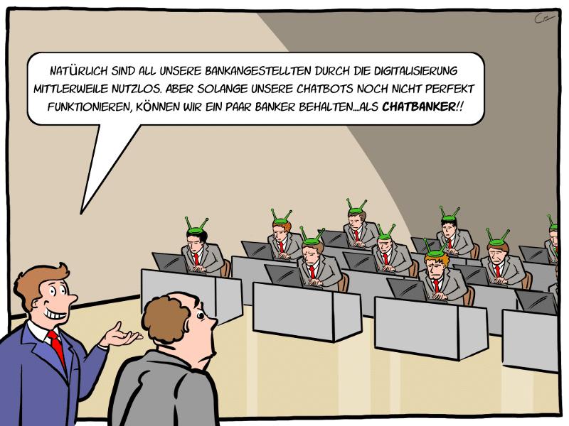 Chatbots Banken Bankberater Bankangestellte Cartoon