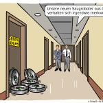 Datenschutz Saugroboter saugen Daten China Bedroung Cartoon Karikatur