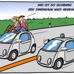 Gläserner Fahrer selbstfahrendes Auto abhören Cartoon