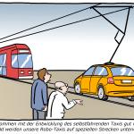 selbstfahrendes Taxi von Bosch Cartoon