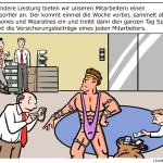 Smart Insurence Versicherung Überwachung Prämie Anreize Cartoon