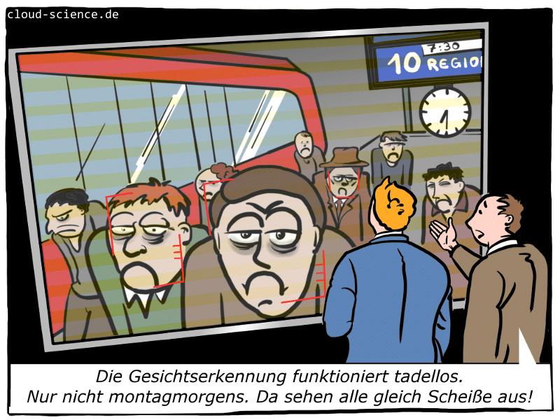 Elektronische Gesichtserkennung Bahnhof Cartoon