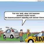 selbstfahrendes Auto autonomes fahren Kommunikation Umwelt Cartoon Karikatur