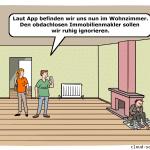 Smart Contracts Cartoon mit Immobilienmakler