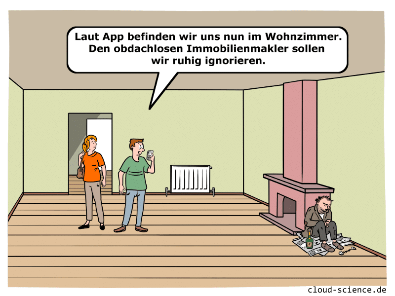 Smart Contracts Cartoon mit Immobilienmakler