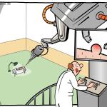 Operationsroboter Entfernung Mikrochirurg Cartoon