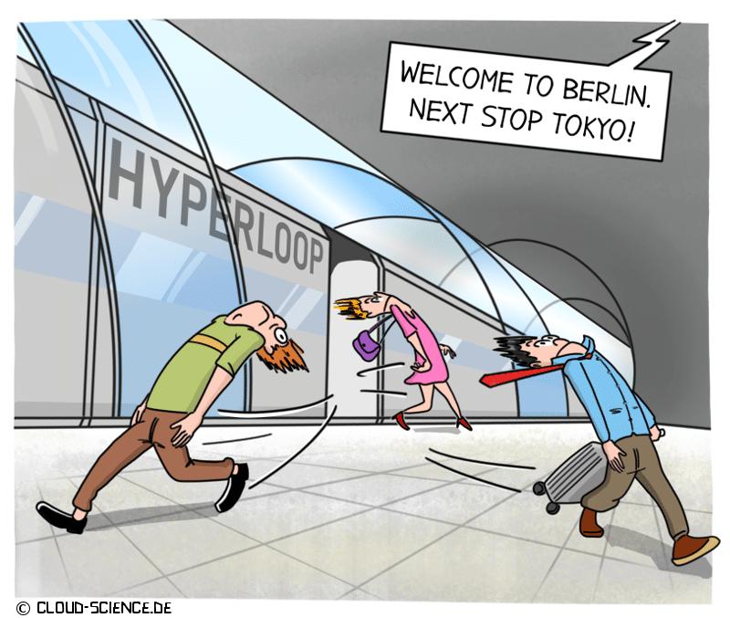 Hyperloop Zukunft Mobilität Geschwindigkeit Reisen Cartoon Karikatur