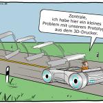 Auto aus dem 3D-Drucker Cartoon