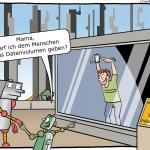 Künstliche Intelligenz-Menschen- Zoo-Cartoon