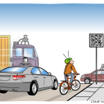 Selbstfahrendes Auto Verkehrsschild Cartoon
