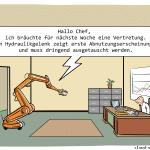 sprechende Maschine Industrie 4.0 Cartoon