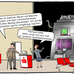 Bitcoins Bank Quantencomputer Cartoon