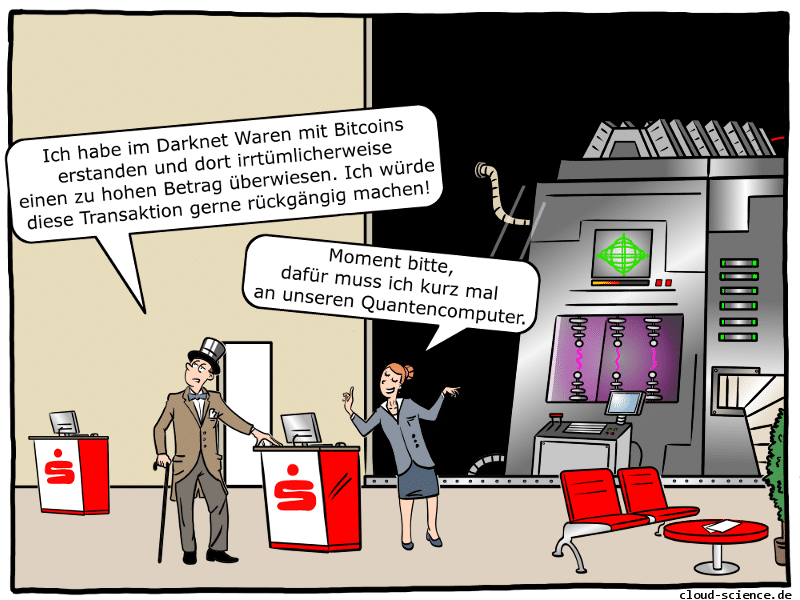 Bitcoin Bank Quantencomputer Cartoon