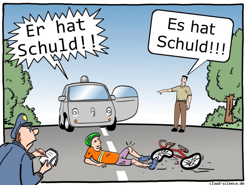 Haftungsfragen selbstfahrendes Auto Cartoon