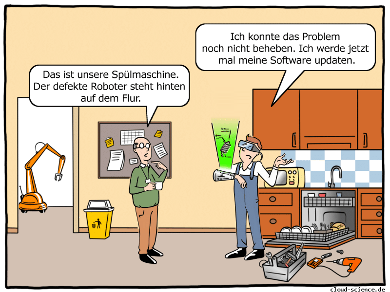 Augmented Reality inder Industrie 4.0 Cartoon