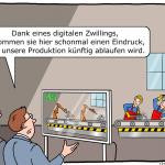 Digitaler Zwilling Cartoon Industrie 4.0 Roboter Arbeit Karikatur