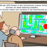 Schüler Überwachung Schulranzen-App Cartoon