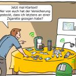 Smart Home Versicherung IoT Cartoon Karikatur