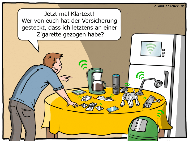 Smart Home Versicherung Cartoon