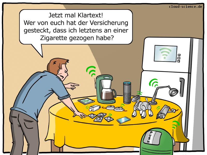 Smart Home Versicherung Cartoon