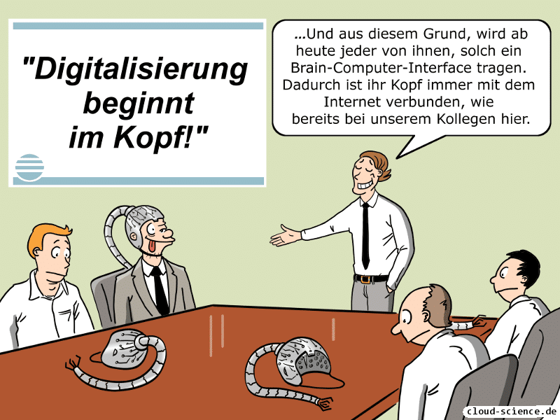 Die Digitalisierung beginnt im Kopf Brain-User-Interface Cartoon