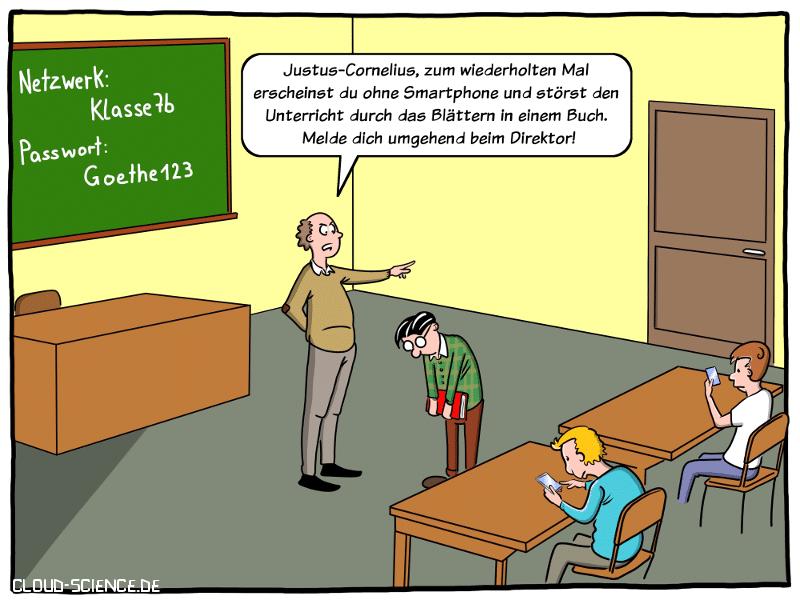 BYOD an deutschen Schulen Cartoon