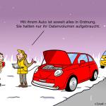 Connected Car Datenvolumen aufgebraucht - Cartoon